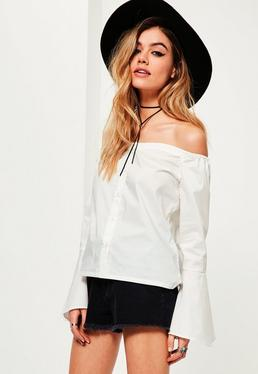 White Trumpet Sleeve Button Front Bardot Blouse