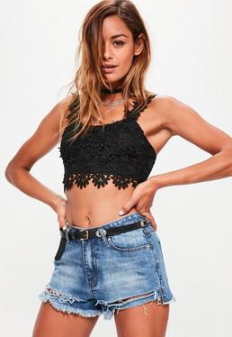 Black Floral Lace Zip Back Bralet