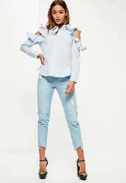 Blue Stripe Frill Cold Shoulder Collar Shirt