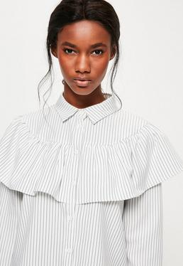 White Striped Frill Long Sleeve Collared Shirt