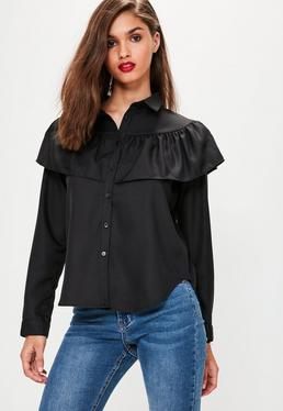 Black Frill Long Sleeve Collared Shirt