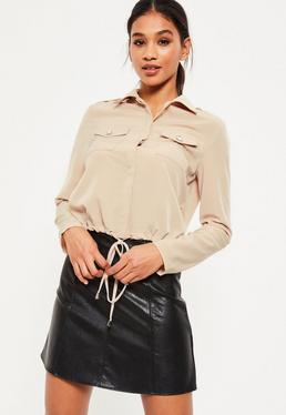 Nude Tie Hem Pocket Front Shirt