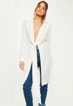 White Hammered Satin Twist Front Longline Shirt