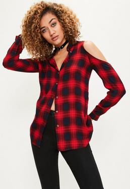 Red Cold Shoulder Check Shirt