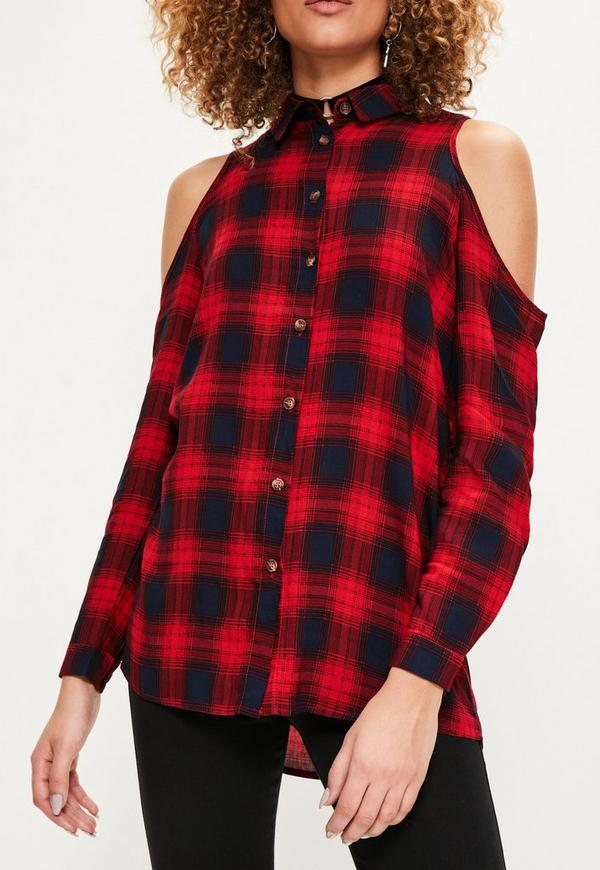 Red Cold Shoulder Plaid Shirt Missguided