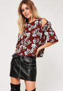 Burgundy Floral Tie Shoulder Short Sleeve Blouse