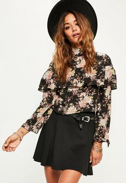 Black Floral Cold Shoulder Frill Blouse