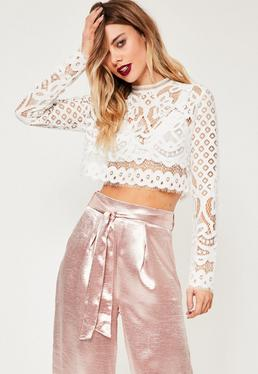 White Patterned Lace Crop Top
