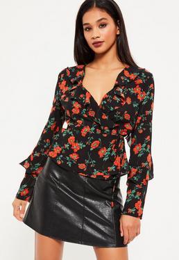 Black Poppy Floral Wrap Top