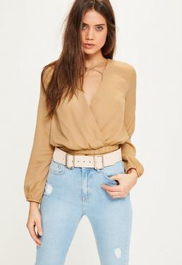 Nude Cross Front Crop Blouse