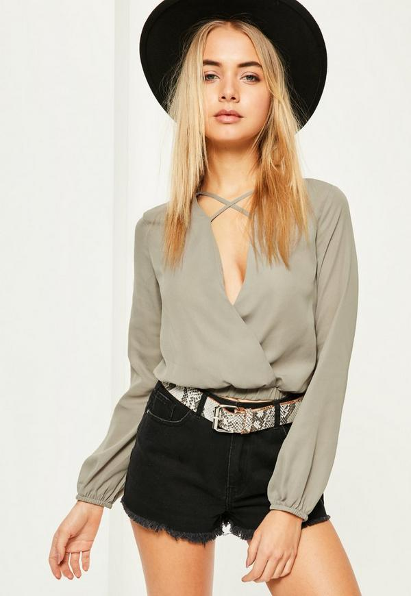 Grey Cross Front Crop Blouse