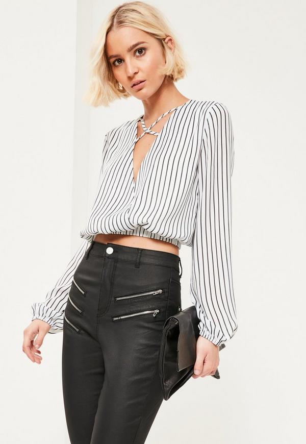 White Striped Crop Blouse