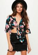 Black Floral Tie Crop Blouse