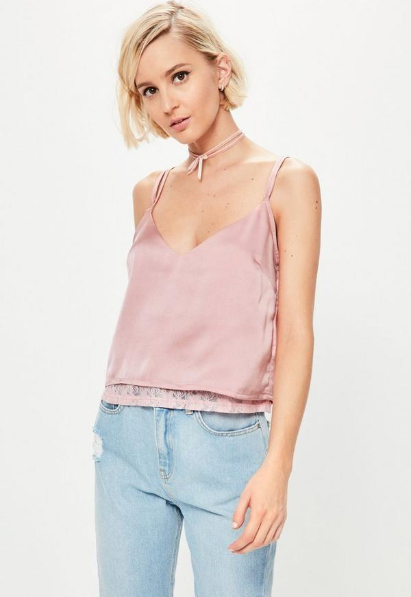 Pink Lace Insert Satin Cami Missguided