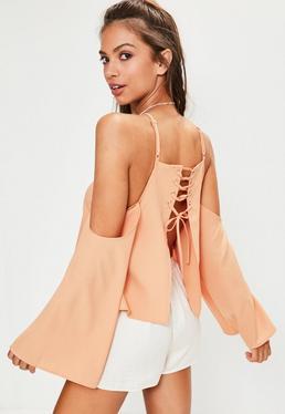 Pink Lace Up Back Cold Shoulder Top