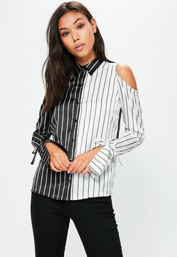Black Monochrome Stripe Cold Shoulder Shirt