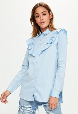 Blue Frill Detail Cotton Shirt