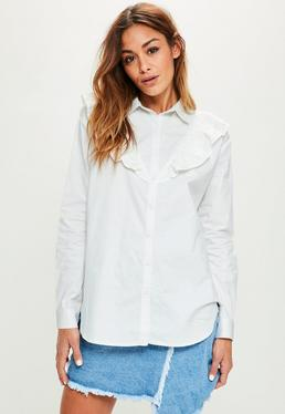 White Frill Detail Cotton Shirt