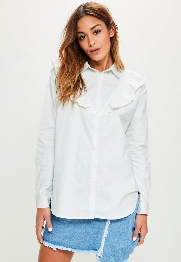 White Frill Detail Cotton Shirt