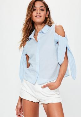 Blue Striped Cold Shoulder Tie Sleeve Shirt