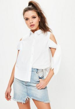 White Cold Shoulder Tie Sleeve Blouse