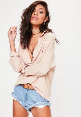 Nude Oversized Long Sleeve Plunge Shirt