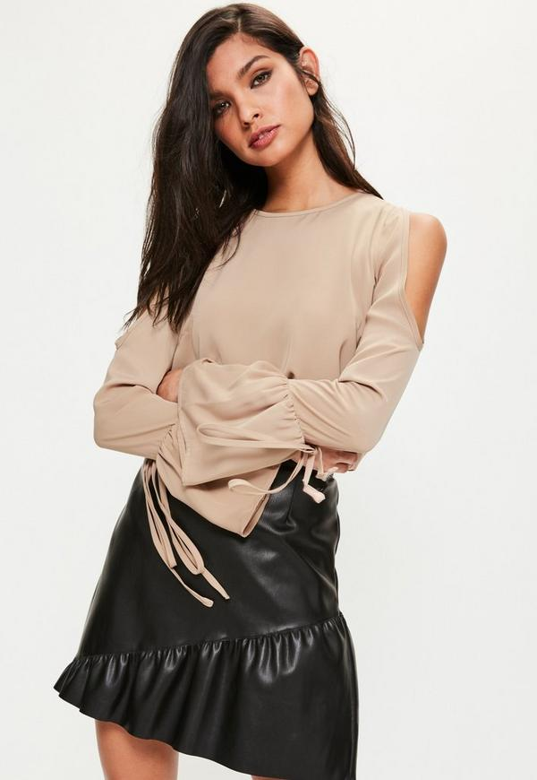 Nude Cold Shoulder Tie Sleeve Blouse