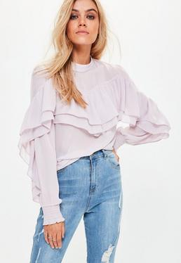 Purple Chiffon Frill Blouse