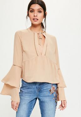 Nude Ladder Trim Flare Sleeve Blouse