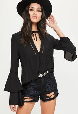 Black Ladder Trim Flare Sleeve Blouse