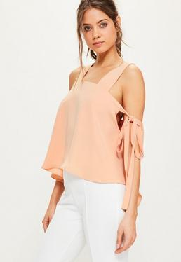 Nude Tie Sleeve Strappy Blouse