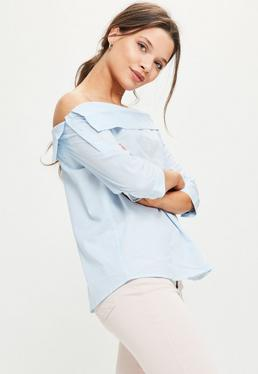 Blue Striped Deconstructed Bardot Blouse