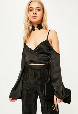 Black Wrap Over Cold Shoulder Blouse