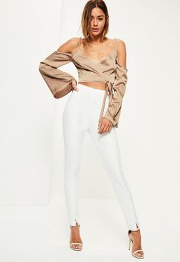 Nude Wrap Over Cold Shoulder Blouse