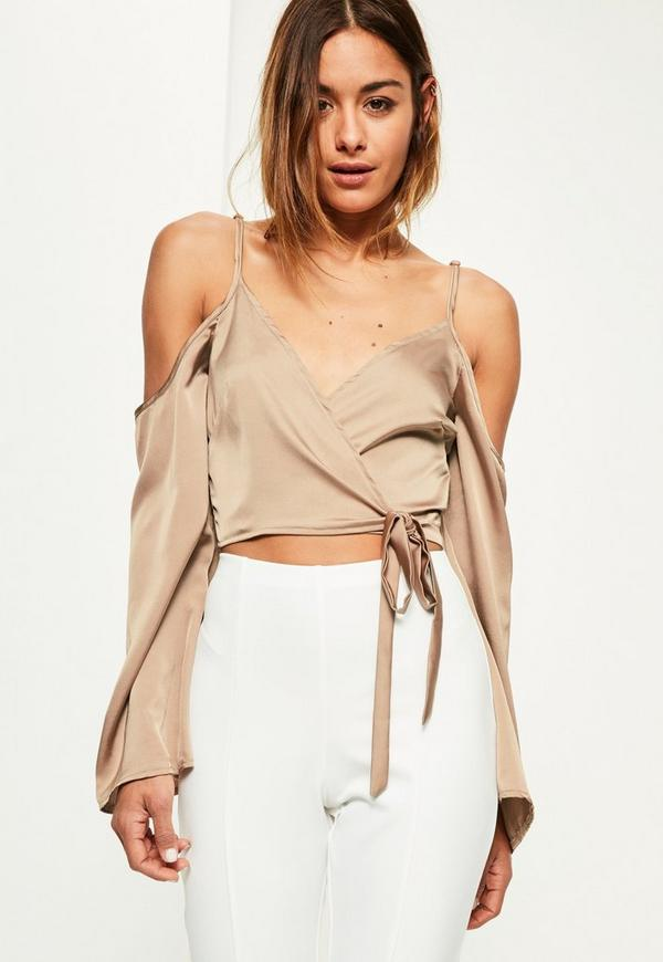 Nude Wrap Over Cold Shoulder Blouse Missguided Australia