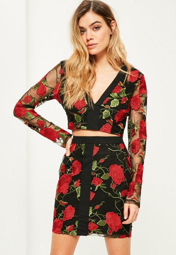 Black Floral Embroidered Plunge Top