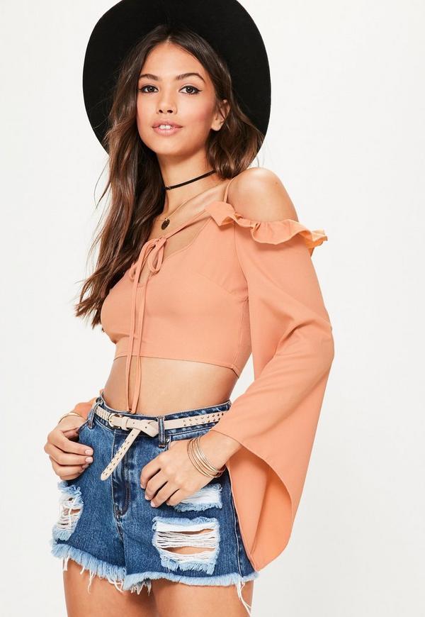 Orange Frill Sleeve Tie Front Crop Top