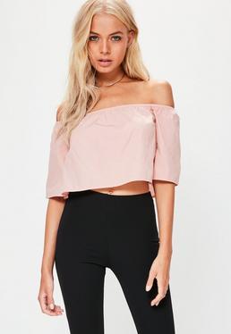 Pink Bardot Crop Top