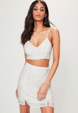 White Beaded Strappy Bralet