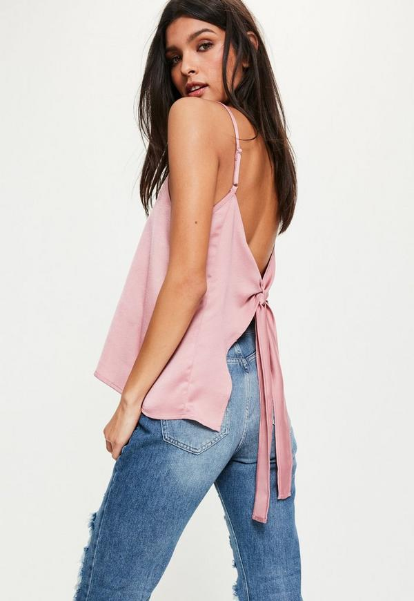 Pink Bow Back Tie Detail Cami Top