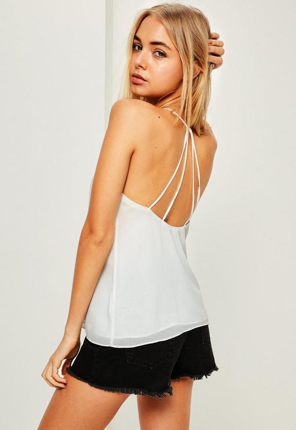 White Strappy Back Cami Top