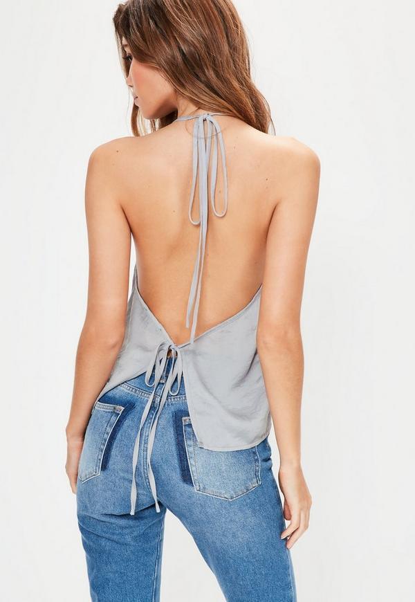Grey Halterneck Tie Back Cami Top