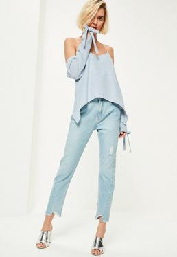 Blue Tie Sleeve Detail Bardot Supported Top