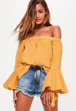 Żółta bluzka bardot z szerokimi rękawami