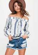 White Striped Lace Up Bardot Blouse