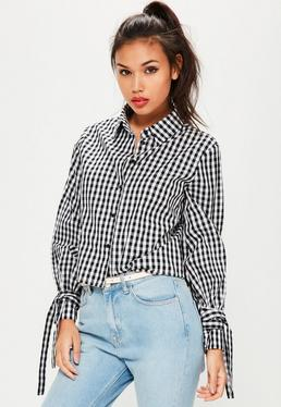 Black Plaid Tie Flare Sleeve Shirt