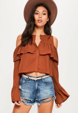Brown Flare Cuff Cold Shoulder Cropped Blouse