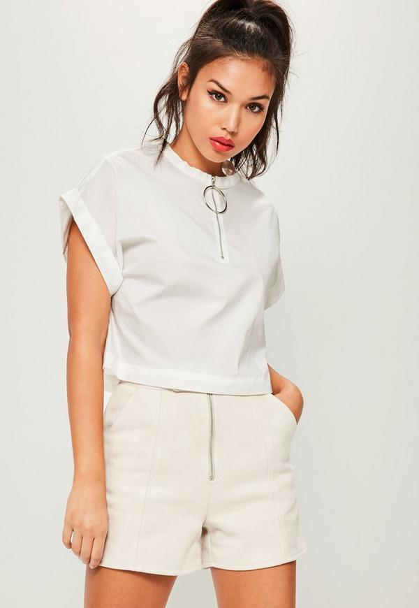 White Pull Ring Cropped Blouse