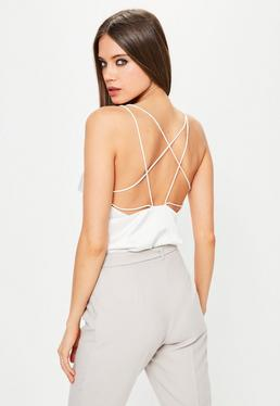 White Satin Strappy Bodysuit