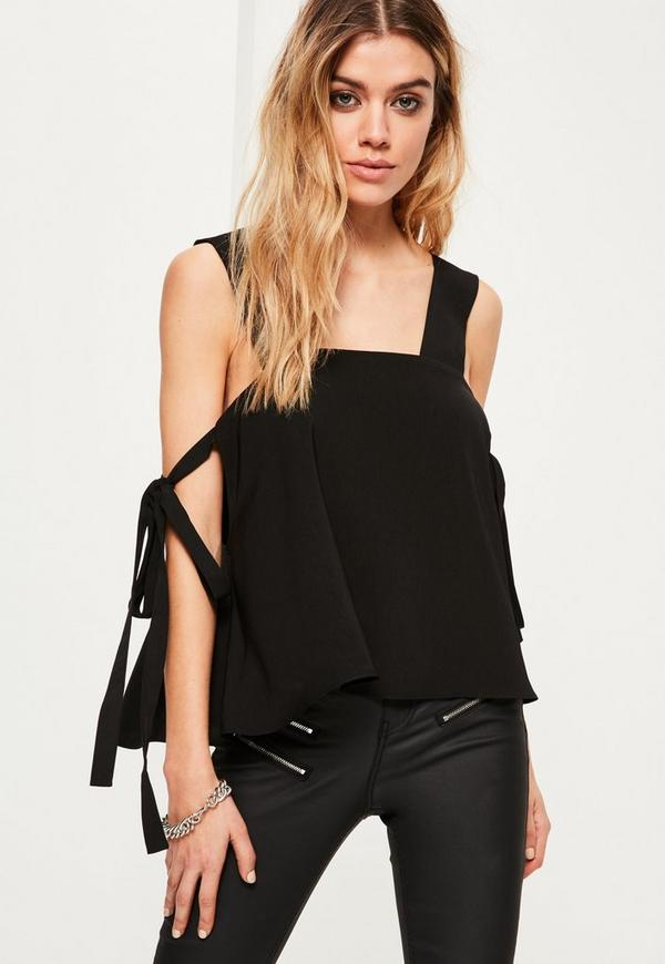 Black Tie Sleeve Strappy Blouse